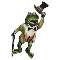HAR Frog in Top Hat Rhinestones Brooch/Pin
