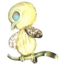 HAR Tweety Bird Yellow-Green Enamel/Rhinestonel Brooch/Pin