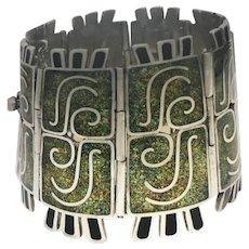 """MARGOT DE TAXCO #5404 Mexican Noble Enamel Sterling Silver Bracelet 2 1/8"""" Wide"""