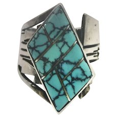 LEE NIETO Sterling Silver Turquoise Ladies Zuni Ring, Size 7.75
