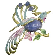 "1940s Enamel Jelly Belly Givre Art Glass Bird 3"" Large Brooch/Pin"