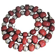 MEXICO Massive Sterling Silver Bead 22mm Apple Coral Necklace 32 inches