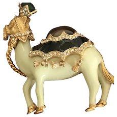 CINER Signed Enameled Bejeweled Camel Mogul Brooch/Pin