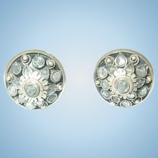 Victorian Sterling Faux Diamond Collar Buttons Pr