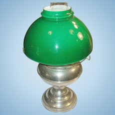 Vintage Bradlely Hubbard Oil Lamp Green Glass Shade 1890's