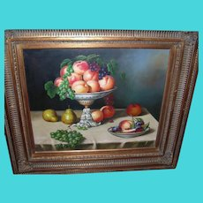 Vintage Oil on Canvas Still Life by J. Nodrik