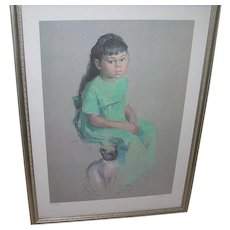 Vintage Betty Warren Lithograph Girl with Cat 386/950