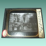 Antique Glass Chrome Photo River Street Fire Troy NY 1884
