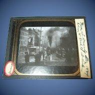 Antique Glass Chrome Photo River Street Fire Troy NY 1884