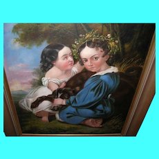 Oil on Canvas Children / Dog Portrait 1790's-1820's
