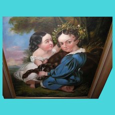Oil on Canvas Children / Dog Portrait 1790's-1820's