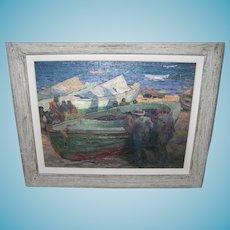 Impressionist Oil Painting Seaside Fishermen / Boats