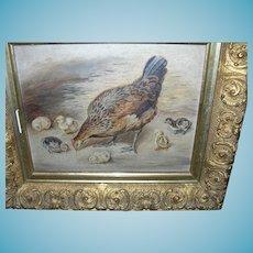 Folk Art Oil Painting on Board Hen / Chicks