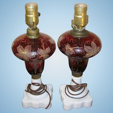 Vintage Early Bohemian Glass Oil Lamps Electrified