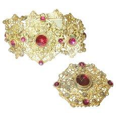 Antique Bracelet /Brooch Set Openwork Faux Rubies/Faux Pearls 1890's