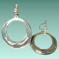 Vintage Sterling Lg Hoop Earrings Fish Design