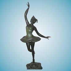 Vintage Lg Bronze Ballerina