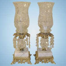 Vintage Pr Crystal/Marble Mantle Lamps Bronze Base