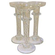 Vintage Crystal Candlesticks Inserted Twist Design