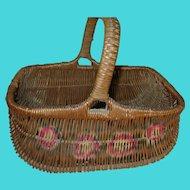 Vintage Market Basket Handpainted Design 1920's