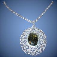 Edwardian Sterling Pendant/Necklace Open Work