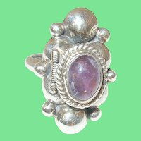 Vintage Sterling Ring Cabochon Amethyst by Beckmann