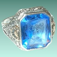 Vintage Sterling 10K Ring Faux Sapphire 1920's
