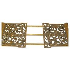 Art Nouveau Book Rack Bronze Collapsible