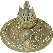 Art Nouveau Lg Inkwell Bronze