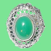 Vintage Sterling Green Onyx Ring Filigree Work