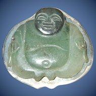 Antique Jade Buddha/Sterling Brooch