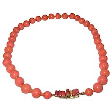 Vintage Faux Coral Bead Necklace Designer Designed