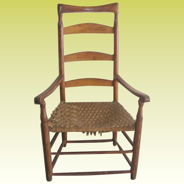 Antique Ladder Back Chair 1790's - Antique Ladder Back Chair 1790's : Robbia Antiques Ruby Lane