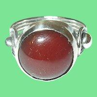 Vintage Sterling Carnelian Modernist Ring