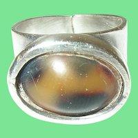 Vintage Ring Sterling Modernist Design by A.T