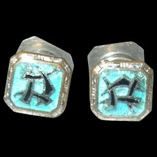 Vintage Sterling Enamel Snap Cuff Links