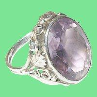 Vintage Sterling Faux Amethyst Ring 1930's Openwork