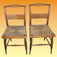 Antique Tiger Maple Side Chairs Pair 1820's