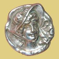 Vintage Brooch Lapel Repousse Female