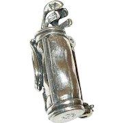 Vintage Brooch Sterling Bag of Golf Clubs