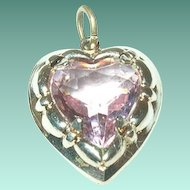 Vintage Gold Filled Heart Charm Faux Amethyst