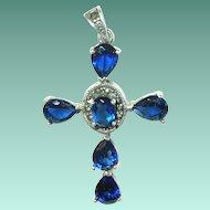 Vintage Sterling Cross Pendant Faux Sapphires Marcasite