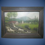 Vintage Oil on Board Folk Art by C.H.S.