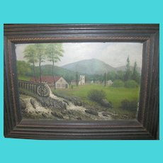 Vintage Oil on Board Folk Art by C.H.S.