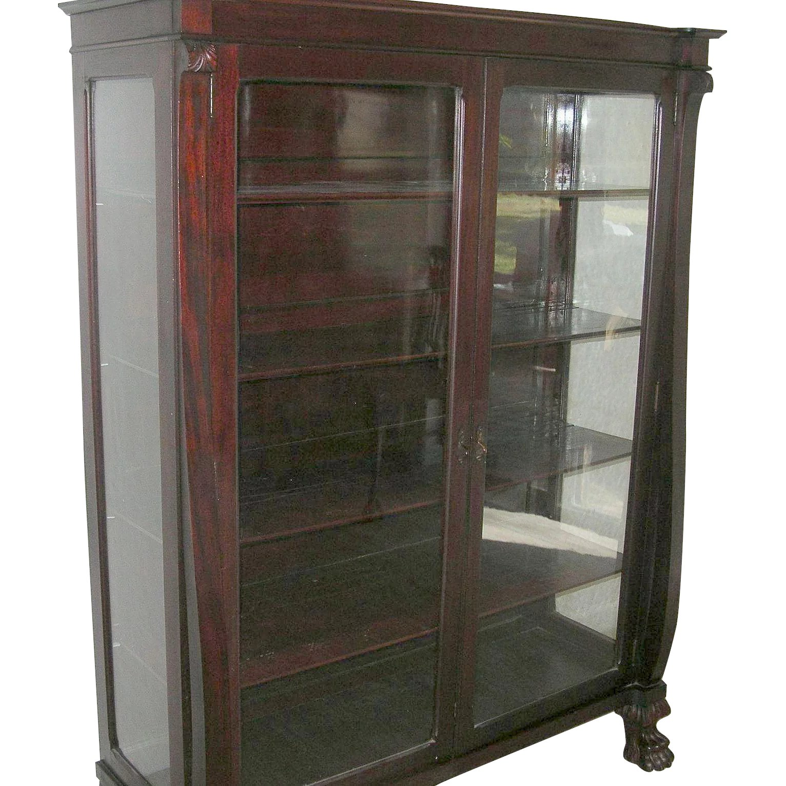 Antique Mahogany Bookcase Glass Panel Doors Claw Feet 1870u0027s : Robbia  Antiques | Ruby Lane