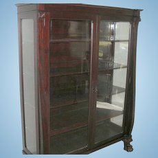 Antique Mahogany Bookcase Glass Panel Doors Claw Feet 1870's