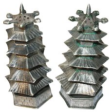Vintage Sterling Salt/Pepper Shakers Oriental Pagodas