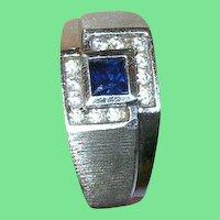 Vintage Sterling Faux Diamond Faux Sapphire Ring
