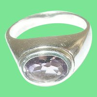Vintage Sterling Amethyst Ring Modernist Design