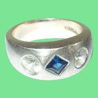 Vintage Ring Sterling Faux Sapphire Faux Diamonds